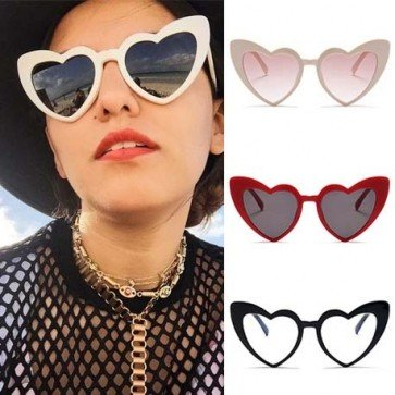 Love Heart Shaped Oversize Gradient Vintage Sunglasses