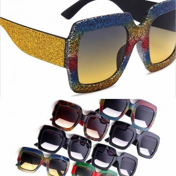 Bold statement oversized bling frame modern sunglasses