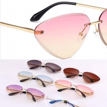 Modern Rimless Mini Cat Eye Sunglasses Vibrant Colors