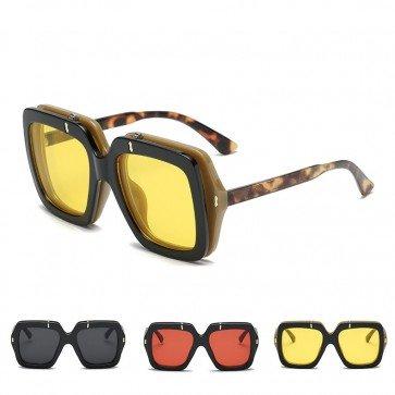 Modern Oversized Flip Up Lens Square Sunglasses