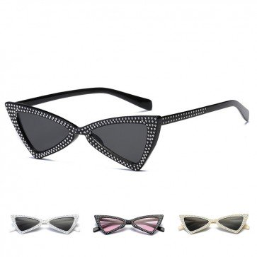 Bling Crystals Triangle Cat Eye Women's Sunglasses