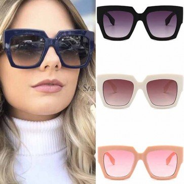 Gradient Lens Large Horn Rimmed Retro Square Sunglasses