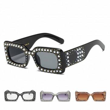 Luxury Bling Pearls Embellished Rectangular Shades