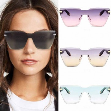 Futuristic Rimless Faceted Pointy Cat Eye Sunglasses