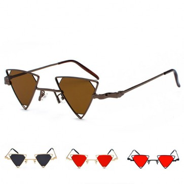 Steam punk vintage tiny sunglasses triangle flat lens