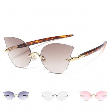 Women Sunglasses Rimless Lens Pen Legs Cat Eye Shades