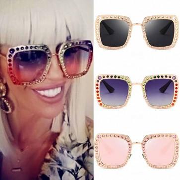 Glittered modern square crystal embellished sunglasses