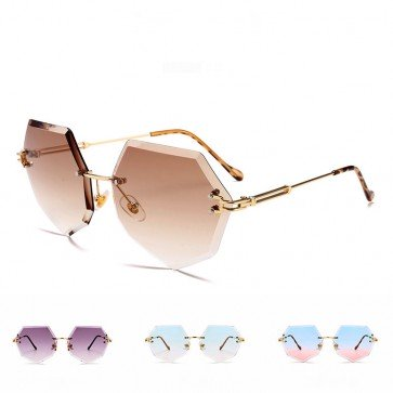Chic distinct heptagon rimless faceted sunglasses