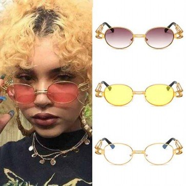Small round oval gold sunglasses steampunk style hi tek