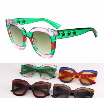 Colorful Lens Outline Trim Stylish Cat Eye Sunglasses