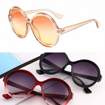 Vintage Round Colored Flat Lens Oversized Sunglasses