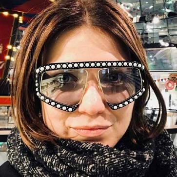Oversize aviation luxury pearl embellished sunglasses