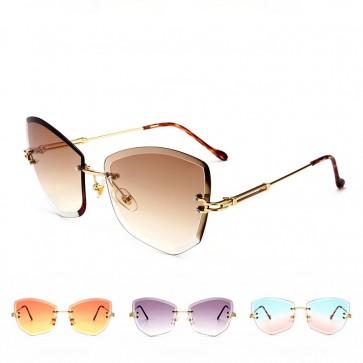 Cats Eyes Street Fashion Metal Frame Womens Sunglasses
