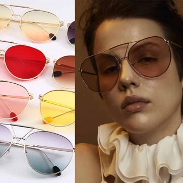 Brown lens gold frame aviator oversized sunglasses
