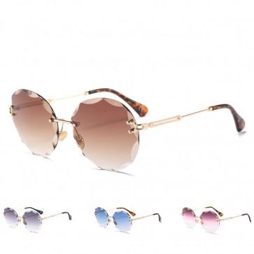 Rimless Shades Oversized Round Flat Lens Sunglasses