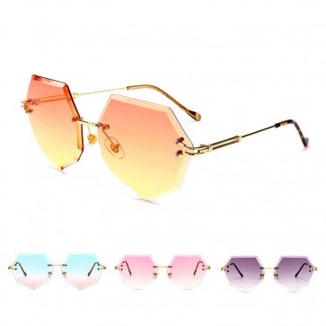 Gold Tone Temple Rimless Lens Heptagon Sunglasses Shades
