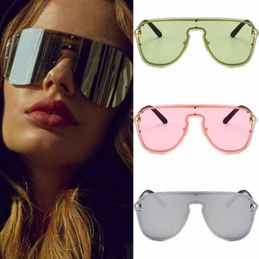 Reflective Mirror Lenses Metal Frame Aviator Sunglasses
