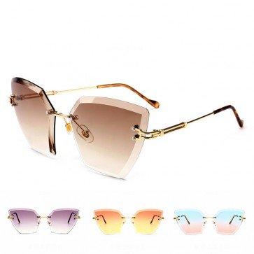 Ladies Revo Rimless Lens Oversized Cat Eye Sunglasses