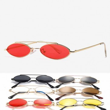 Stylish oval shaped sunglasses solid tint small lens
