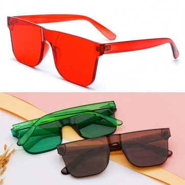Shield Lens Flat Top Rectangle Bottom Sunglasses