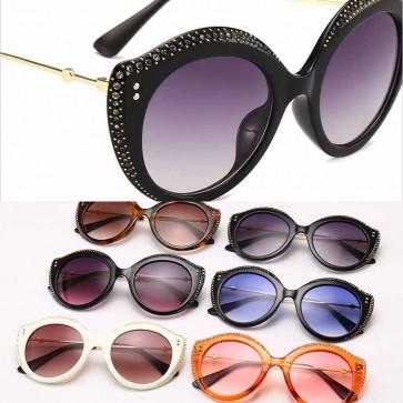 Retro fabulous rhinestones sunglasses round tinted lens
