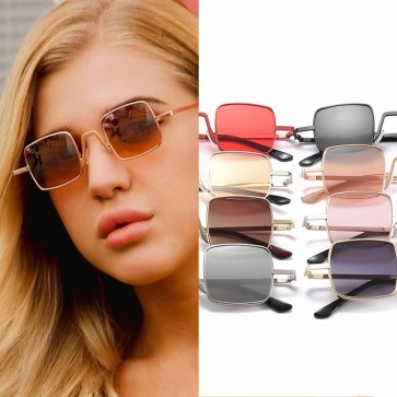 Geometric Hollowed Bridge Square Flat Lens Sunglasses