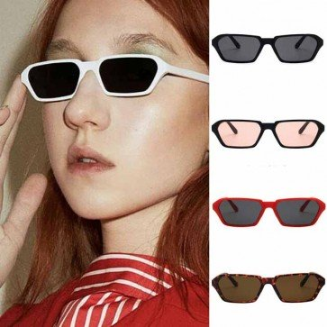 Hexagon flat lens small sunglasses charming contrast