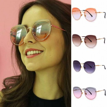 Rhinestone Embellished Rimless Gradient Sunglasses