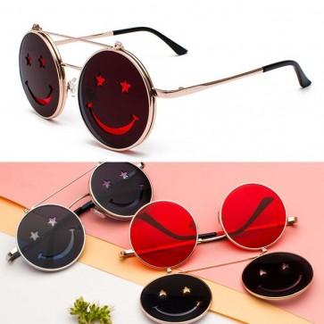 Hippie Punk Round Sunglasses Smile Face Flip Up Lens