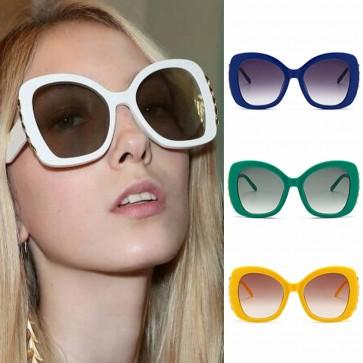 Butterfly Oversized Sunglasses w/ Gold Tone Side Bar