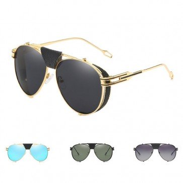 Side shields steampunk sunglasses leather nose bridge