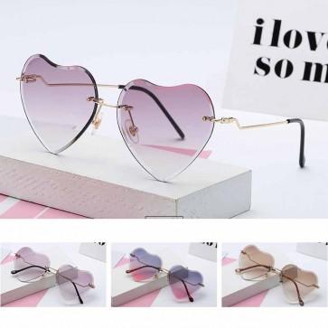 Girls Heart Shaped Rimless Sunglasses Gradient Lens