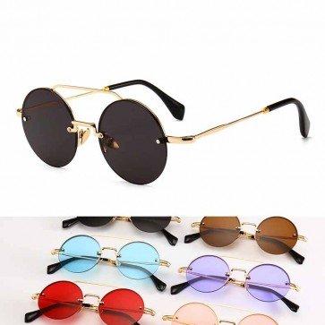 Retro hippie punk round rimless sunglasses colored tint