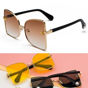 Butterfly Shaped Womens Cute Gold Bees Sunglasses