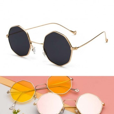 Vintage octagon flat lens small size metal sunglasses