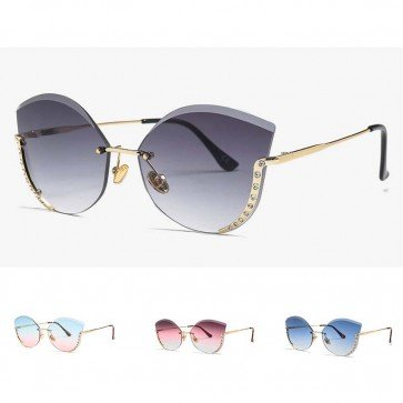Rimless Faceted Lens Ladies Cat Eye Bling Sunglasses