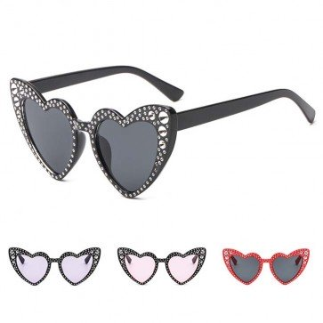 Adorable High Tip Cute Bling Heart Sunglasses