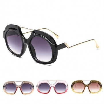 Over Size Round Shades Two Tone Bold Frame Thin Arms