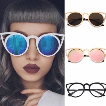 Round Mirrored Flat Lens Hollow Cat Eye Rim Sunglasses