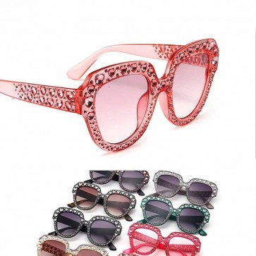 Womens Bling Heart Crystals Vintage Cat Ear Sunglasses