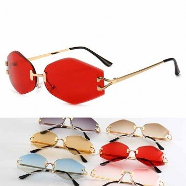 Cute Tiny Rhombus Shape Sunglasses Small Rimless Lens