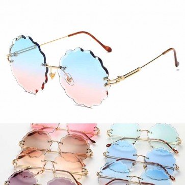 Modern curved arms sleek cute rimless round sunglasses