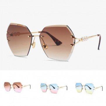 Rainbow tint pearls embellished hexagon sunglasses