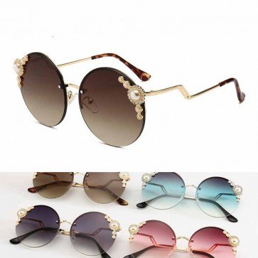 Pearls and Stones Embellished Rimless Round sunglasses