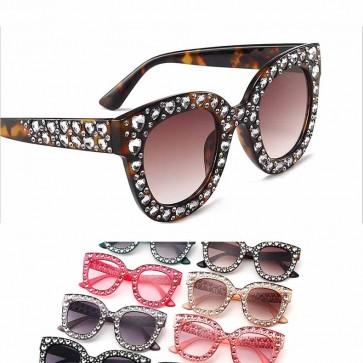 Cats Eyes Street Fashion Bling Glitter Women Sunglasses