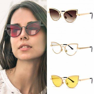 Ladies cat eyed sunglasses high pointed flat lens