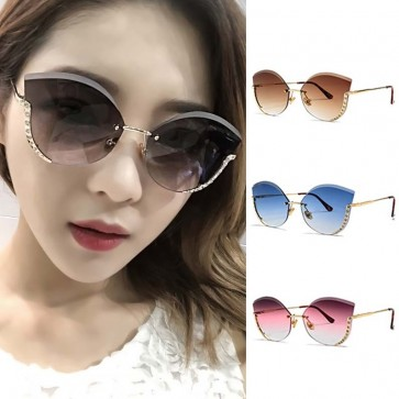 Rimless Faceted Lens Ladies Cat Eye Bling Sunglasses