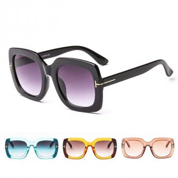 Gradient Tint Square Oversize Multicolored Sunglasses