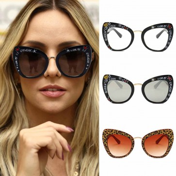 Multi-color Letters Temple Cat Eye Girls Sunglasses