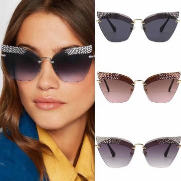 Ladies oversize colorful lens BLING cat eye sunglasses